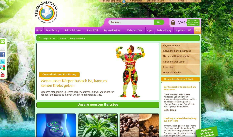 Regenbogenkreis Onlineshop und Onlinemagazin für vegane Rohkosternährung Blogtexte und Produkttexte von Evas Texterei